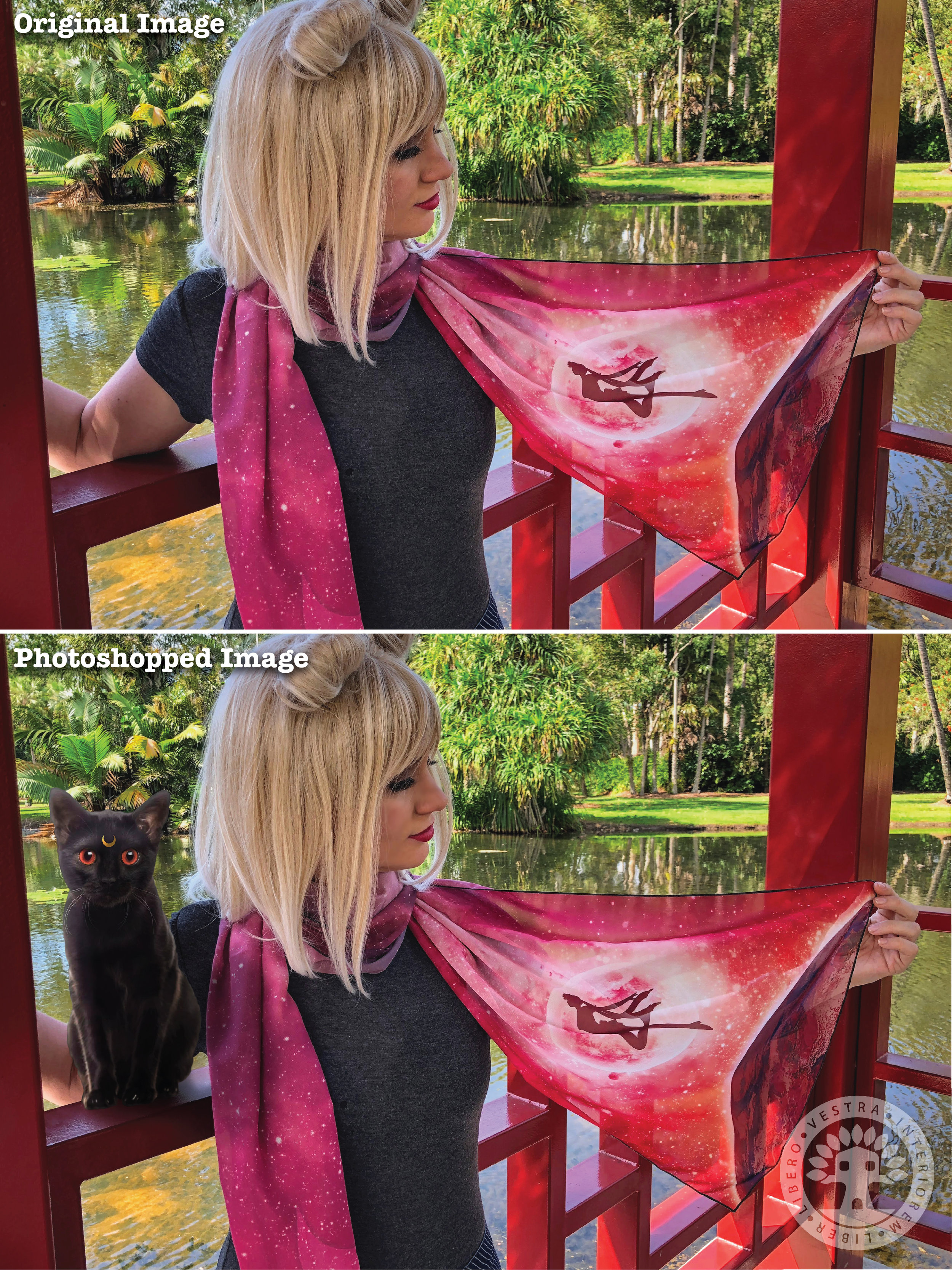 """""""Sailor Moon Scarf"""" before and after Photoshop . ~ Corinne Jade, ClubHouse Collective"""