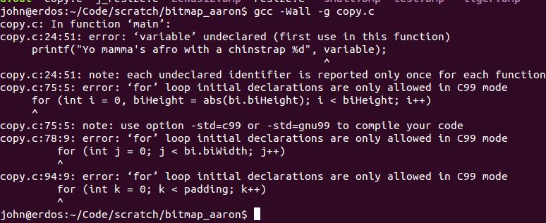 Compiler telling us that we got things wrong