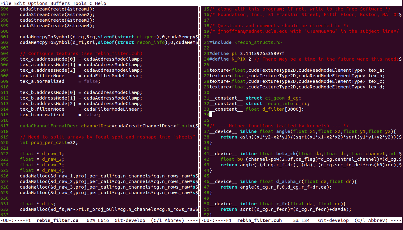 """On the left we have the host code, on the right we have our kernel code. The only lines that are important here are the ones that start with """"tex_"""" or """"texture."""" Can you spot the problem?"""