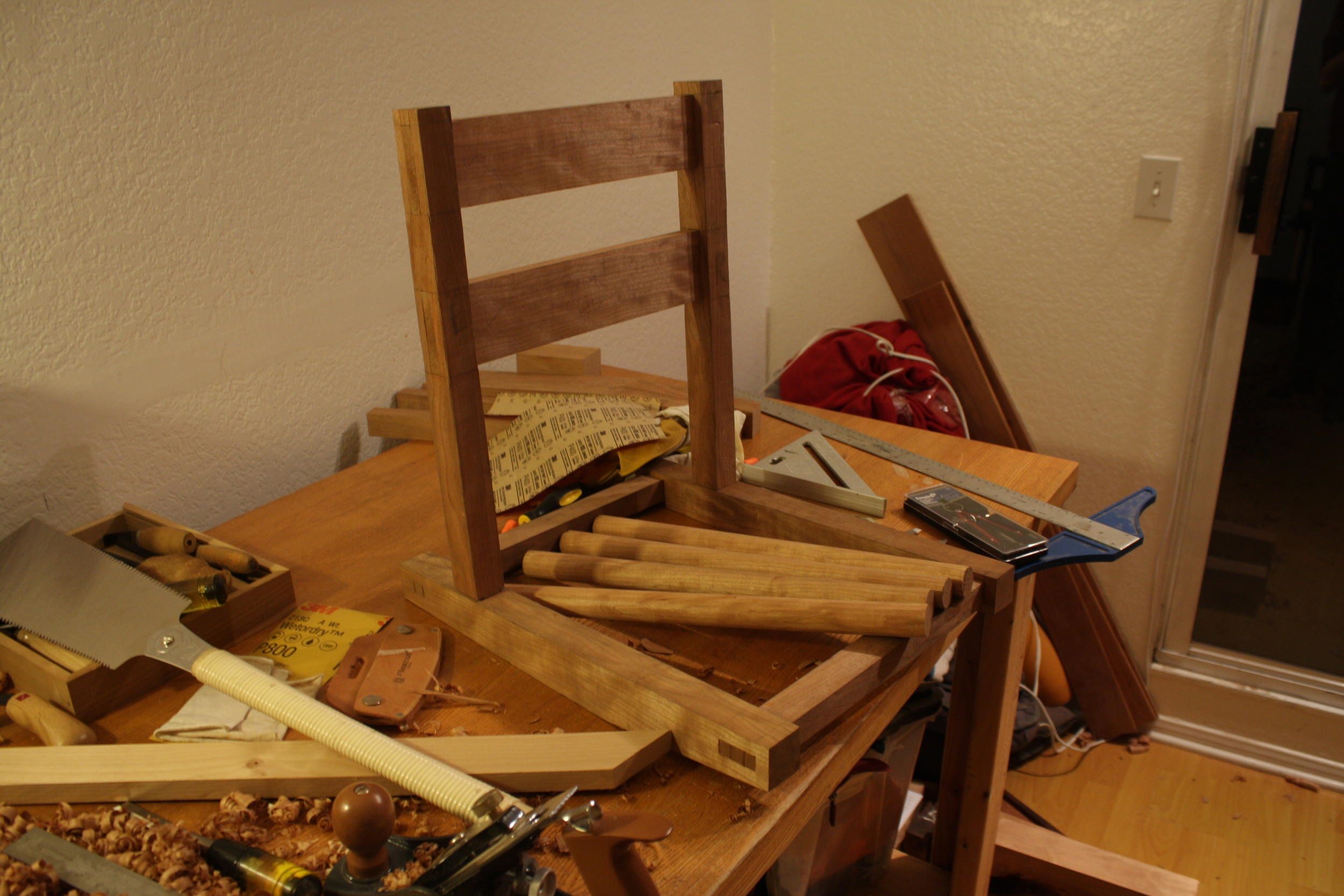 It's starting to look vaguely like a chair!  So very many joints.  So many.