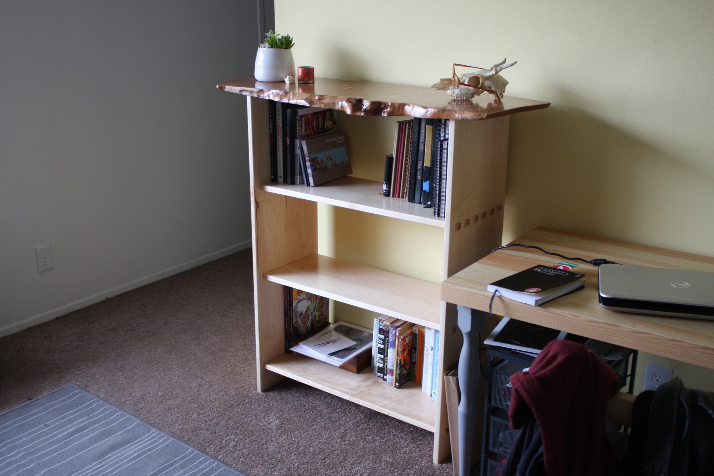The bookshelf in its new home