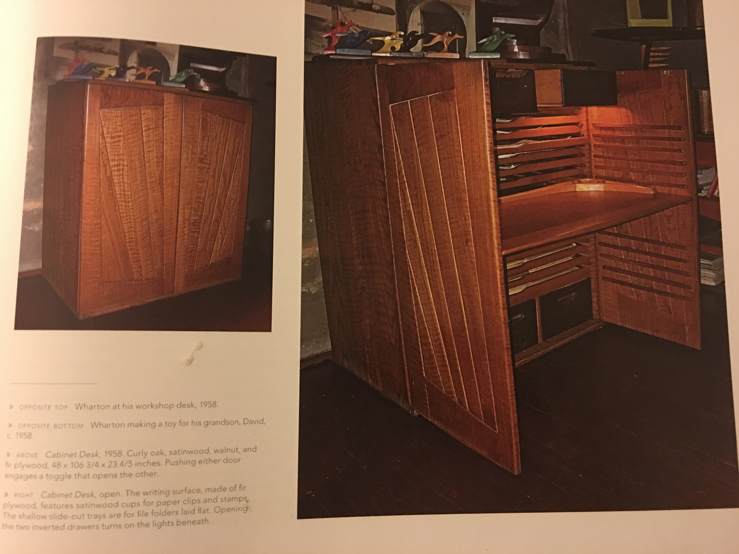 Wharton Esherick's desk that was the inspiration for the wedge pattern on the sides and really much of the shelf.