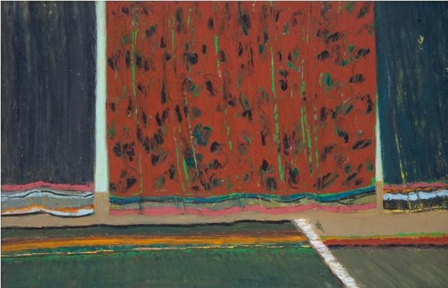 Across the Curtains - Au Travers des Rideaux, 2004, 25x40cm, oil on paper - huile sur papier, sold - vendu