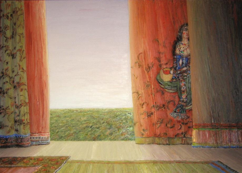 Girl in the Curtain - Fille dans le Rideau, 2006, 50x70cm, oil on canvas - huile sur toile, sold - vendu