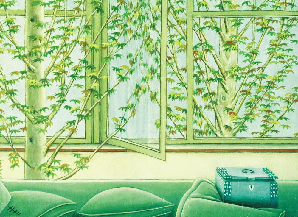 Plane Trees and Windows - Platanes et Fenetres, 1991, 30x25cm, oil on canvas - huile sur toile, sold - vendu