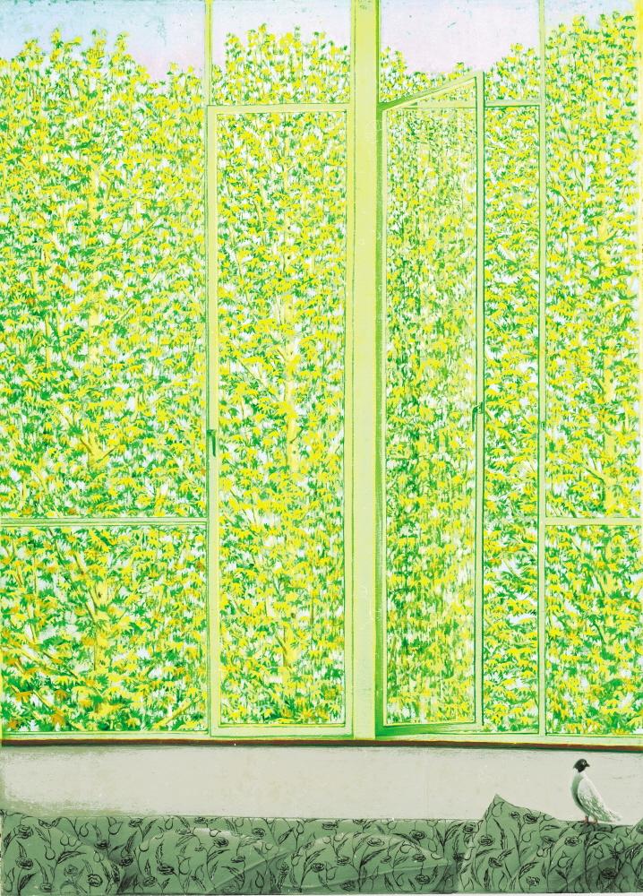 A Thousand and One Leaves - Mille et Une Feuilles, 1989, 50x70cm, oil on canvas - huile sur canvas, sold - vendu. Grand prize winner at the Tehran Biennale - Prix de la premiere biennale de Teheran.