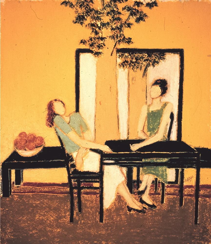 Confidences, 2000, 30x35cm, oil pastel on paper - pastel gras sur papier, sold - vendu