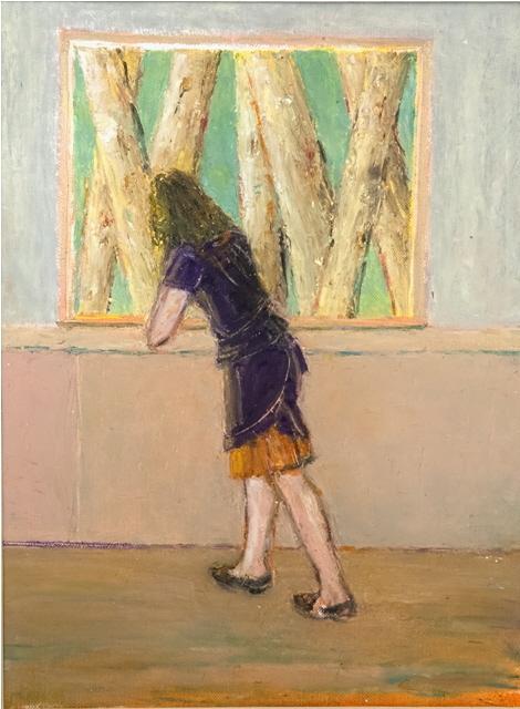 Woman at the Window - Femme a la Fenetre, 20x30cm, oil and oil pastel on paper - huile et pastel gras sur papier, sold - vendu