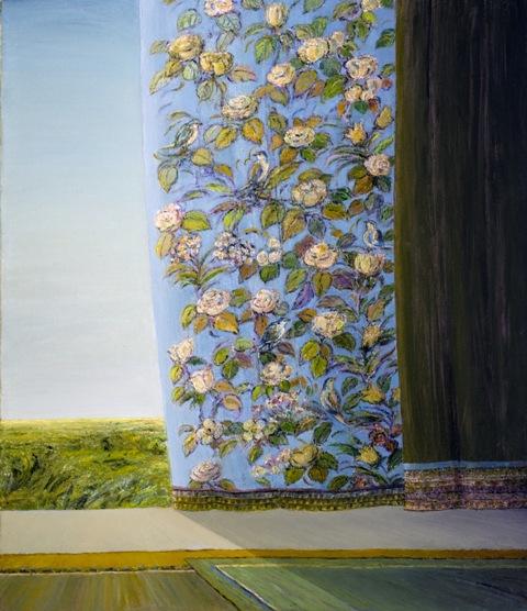 Flowers and Birds(Blue) - Fleurs et Oiseaux(Bleu), 2010, 60x70cm, oil on canvas - huile sur toile, sold - vendu