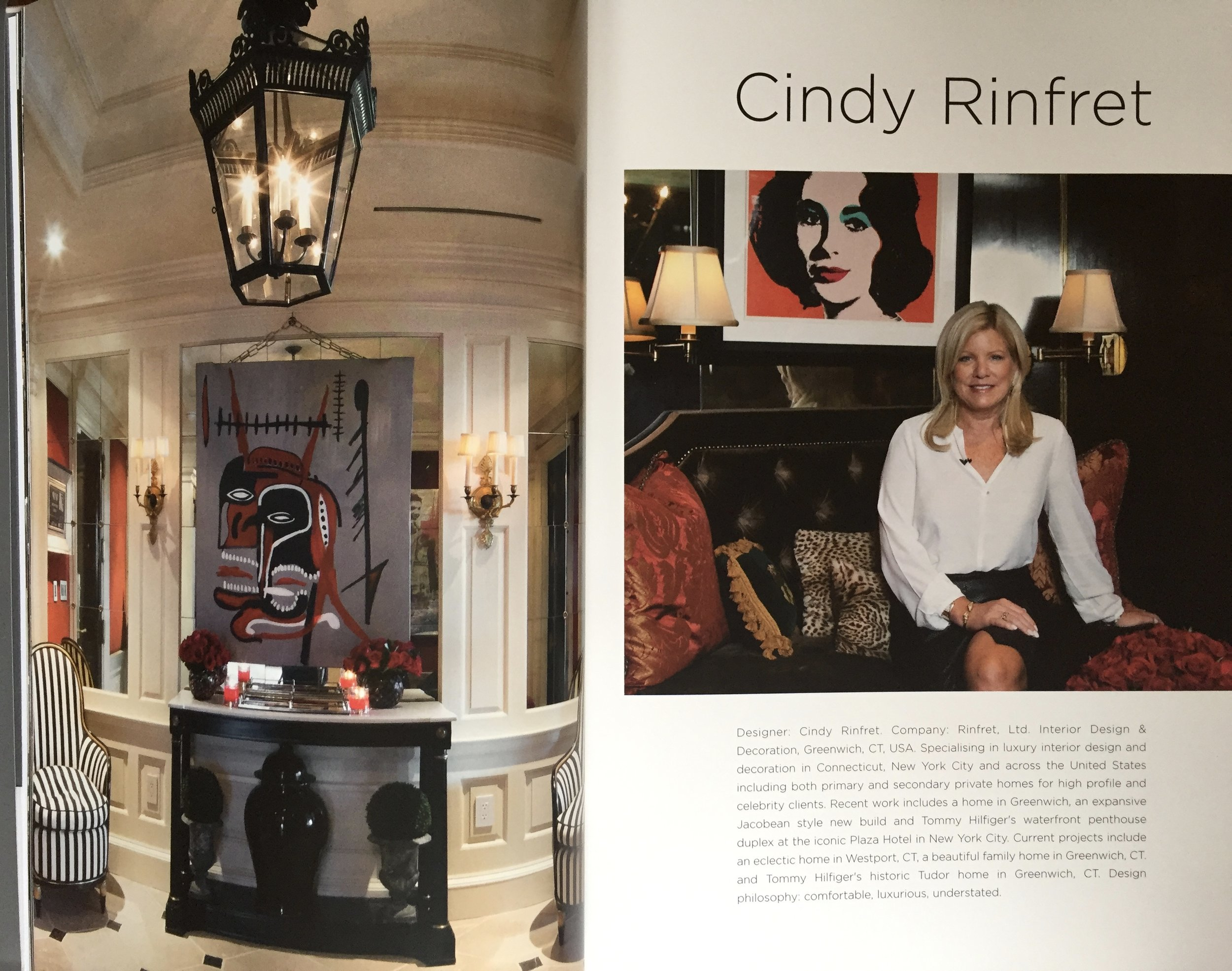 Cindy Rinfret's bio and the first spread in the eight pages of coverage in the  Andrew Martin Interior Design Review, Volume 20 .