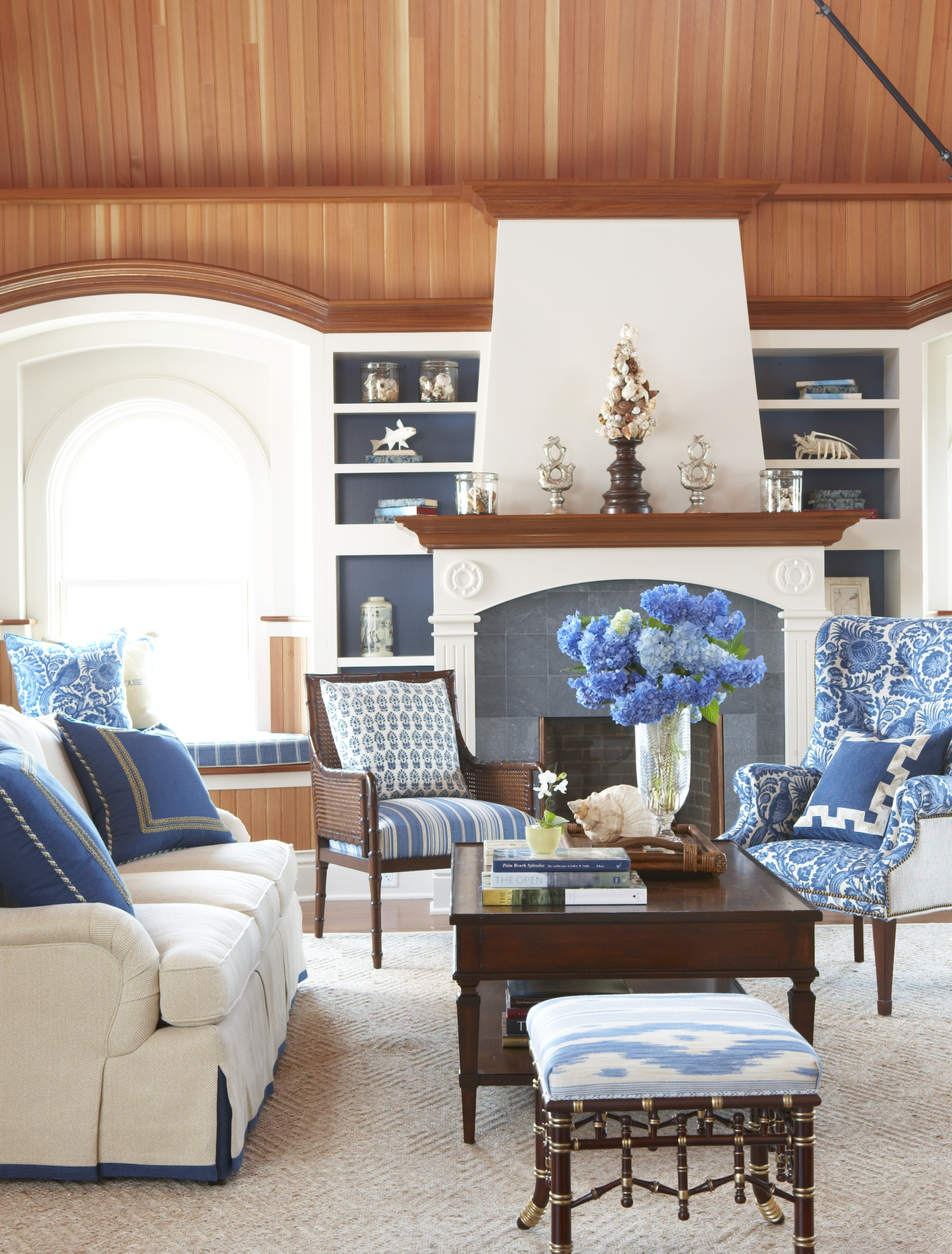 The living room at the Ocean House Tower Suite in Watch Hill, designed by Cindy Rinfret.