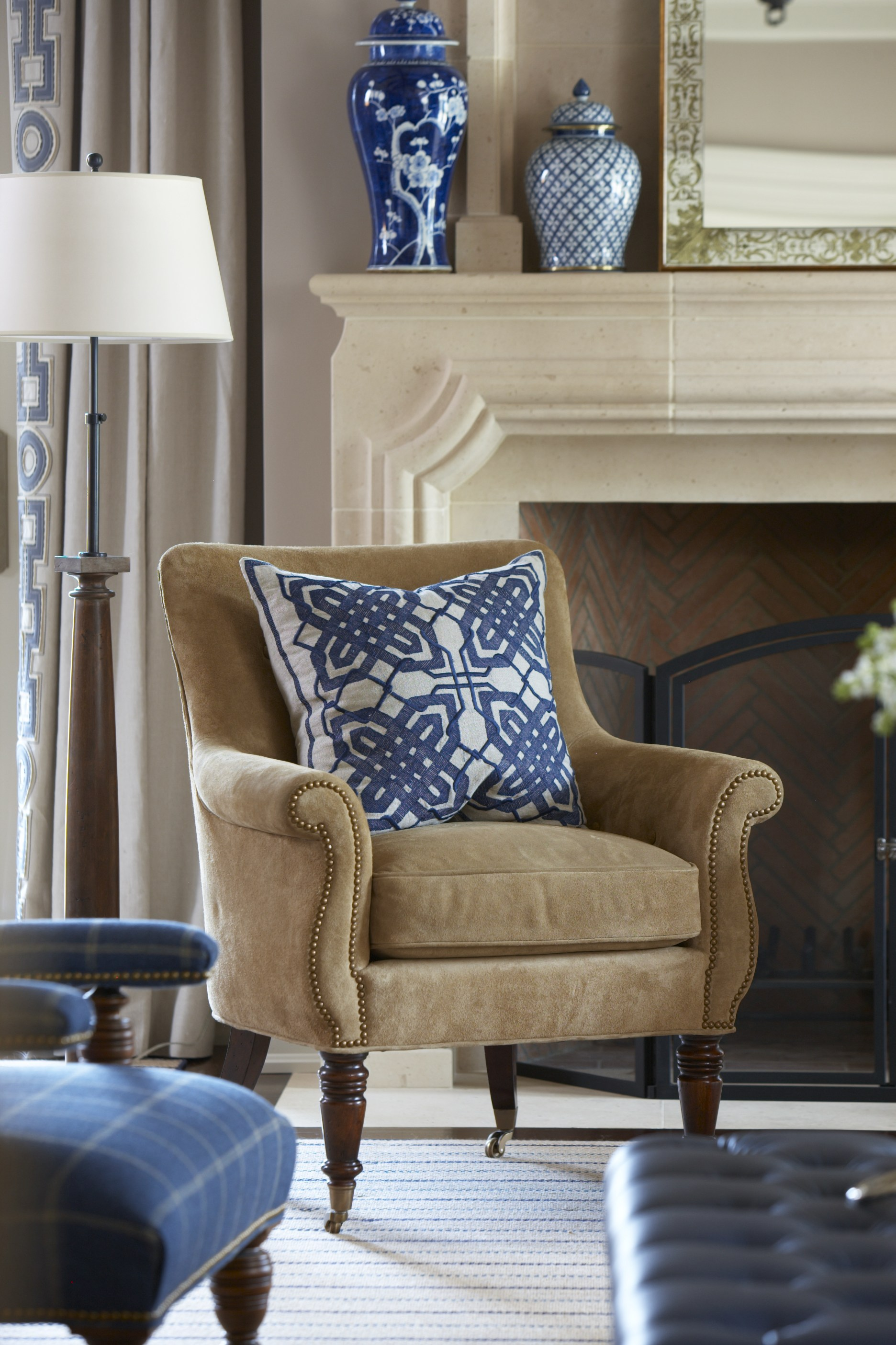 Blue and white abounds in a Greenwich family room designed by Cindy Rinfret.