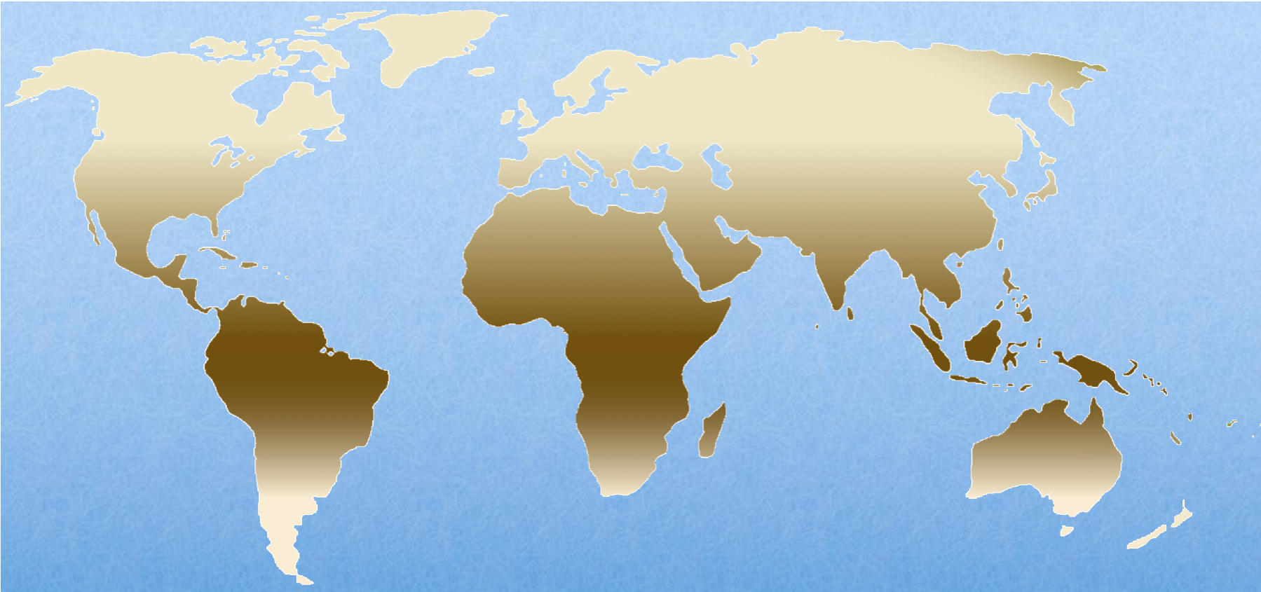 Figure 17.  Human skin color is expressed on a continuum as a result of polygenic inheritance.  In lower latitudes,selection pressures promote darker skin to protect from cellular damage from UV exposure. Lighter skin promotes higher vitamin D production, essential in the more northern latitudes.