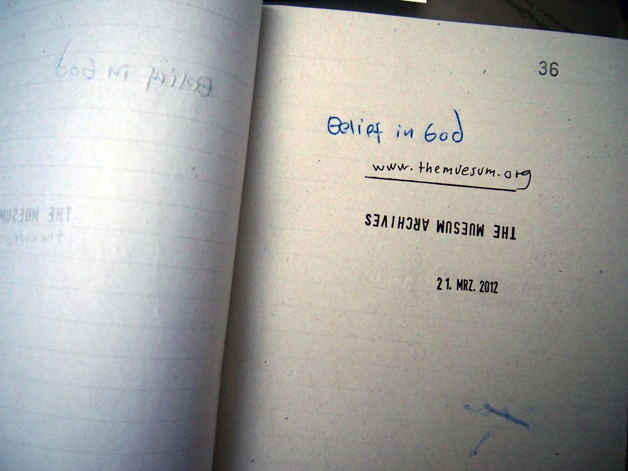 Lost Belief in God. Acknowledge Receipt