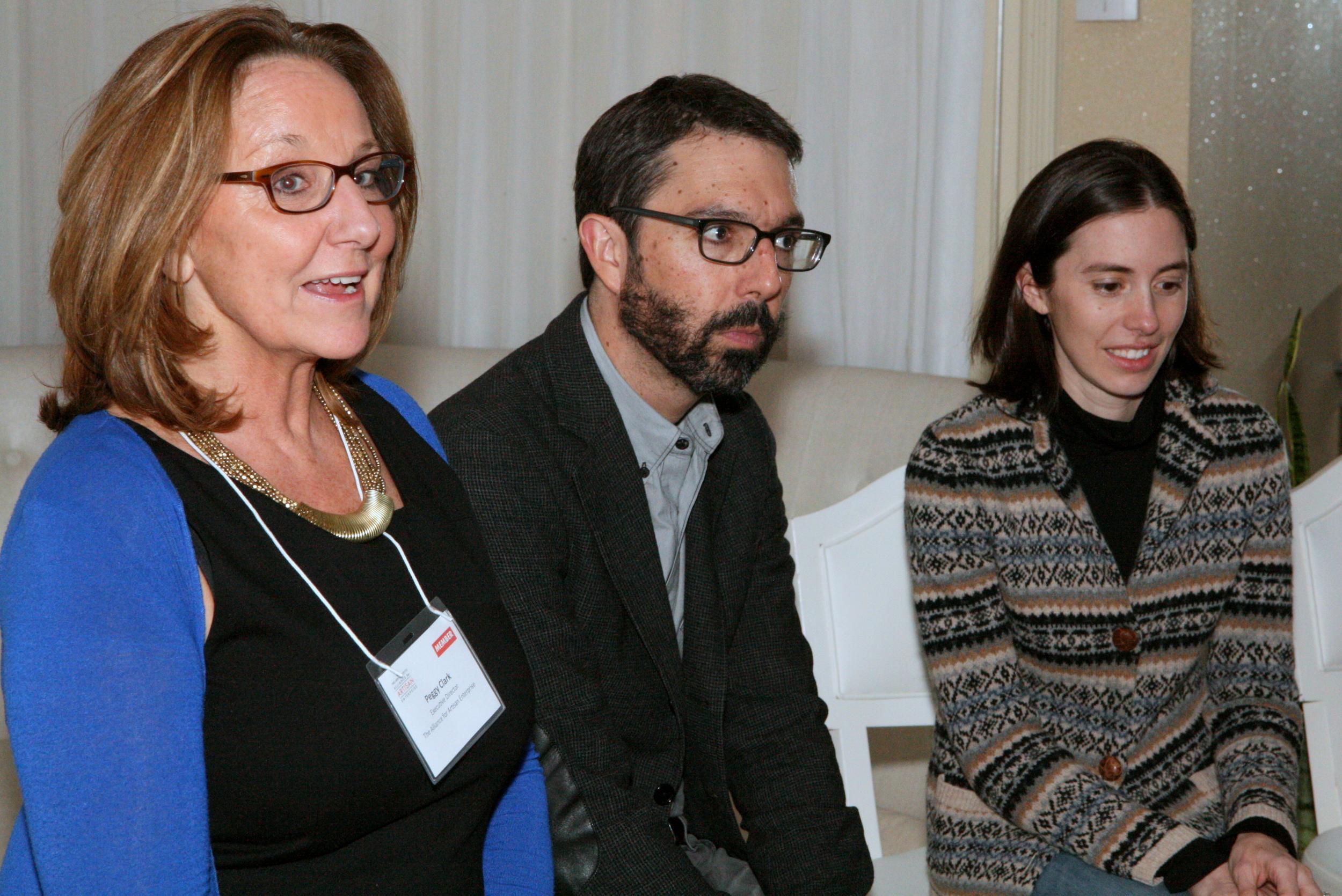 The evening's panel: Peggy Clark, Paul van Zyl & Rebecca van bergen