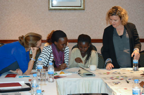 Peggy Clark and Katie Drasser from the Aspen Institute assisting members of Indego Africa map their value chain