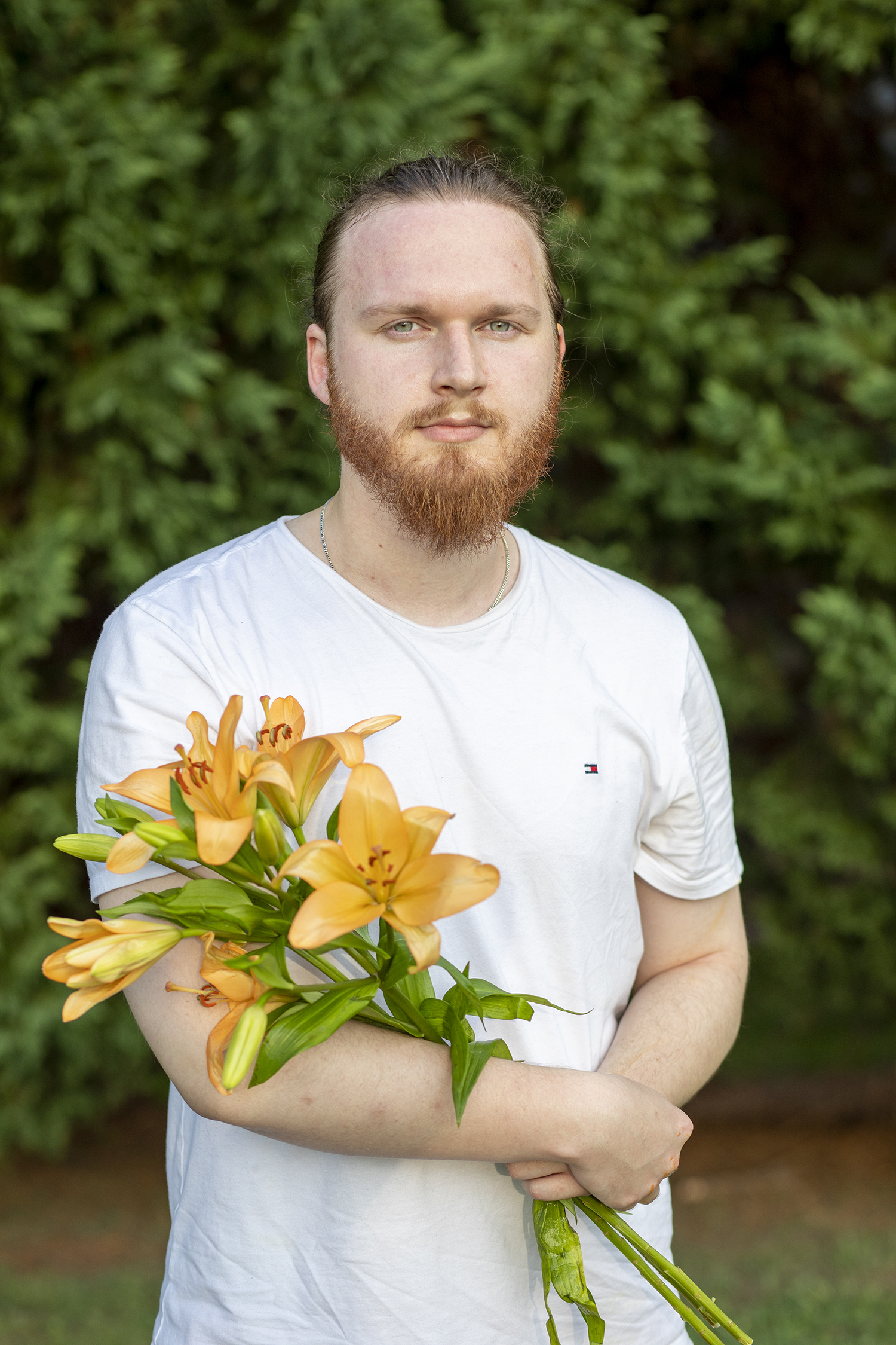 Garrett with Asiatic Lilies