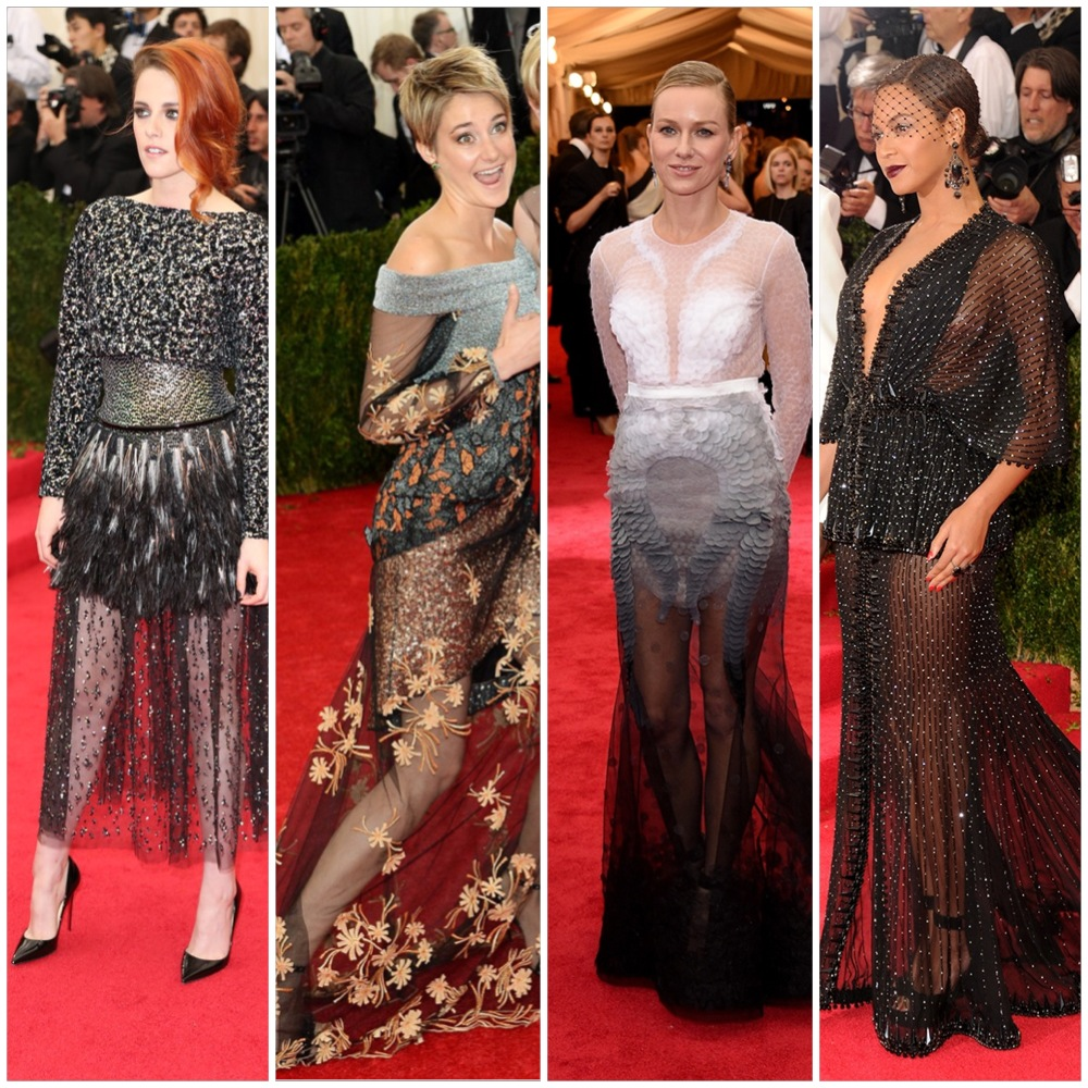 Sheer skirts in varying degrees of awfulness.  left to right: Kristen Stewart, Shailene Woodley, Naomi Watts, Beyonce