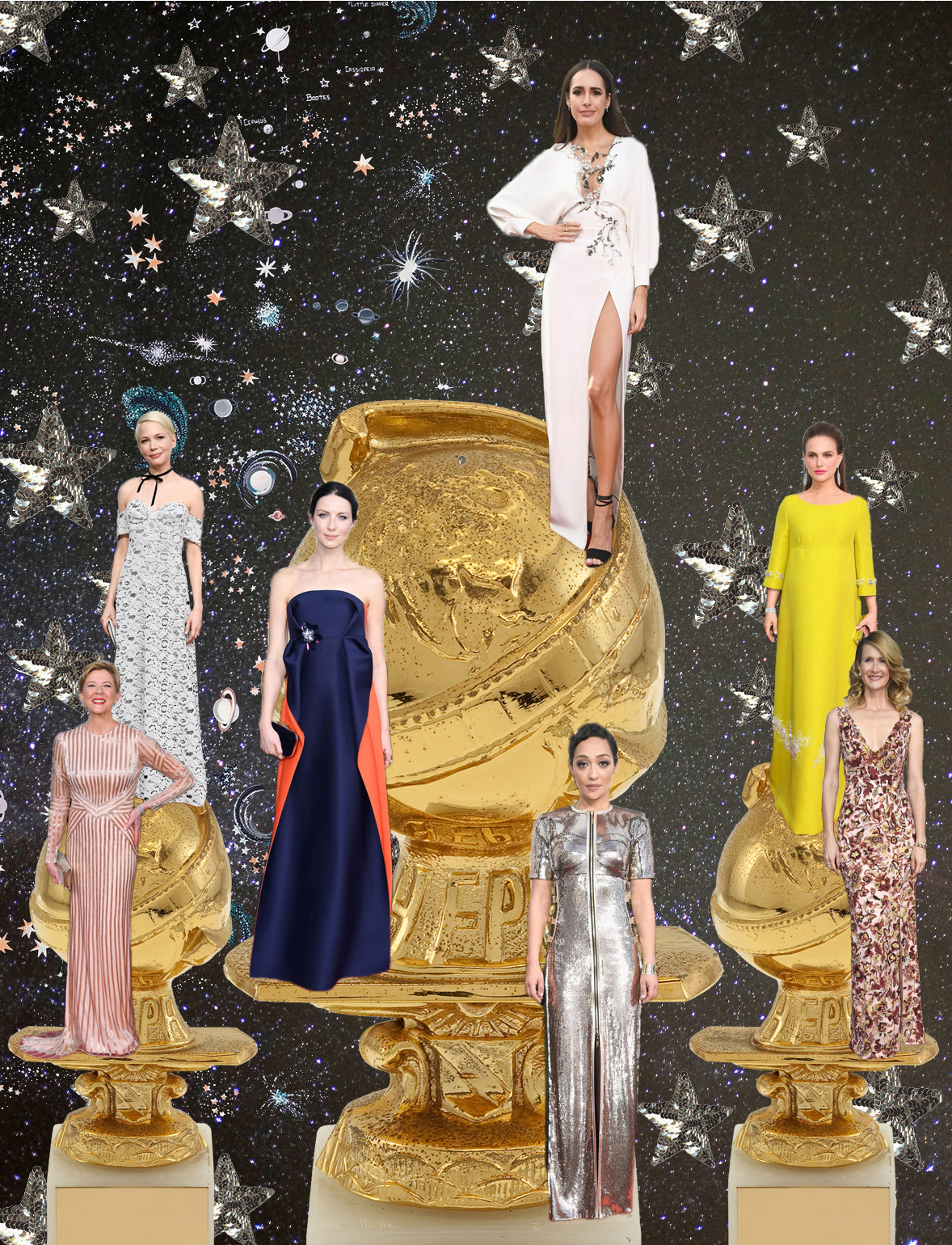 My Top three: Center and from literal top to bottom - Louise Roe in Monique Lhuillier,  Caitriona Balfe in Delpozo and Ruth Negga in Louis Vuitton. Satellite favorites - counter-clockwise from left: Michelle Williams in Louis Vuitton, Annette Benning in Pamela Roland, Laura Dern in Burberry, and Natalie Portman in Prada.