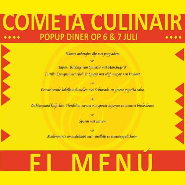El Ménu voor Spaans/Mallorquins pop-up diner op 6 en 7 juli a.s. 🍴 Reserveren via: http://www.cometaculinair.nl/popup-dining  #popup #diner #Spanishfood #TheHague