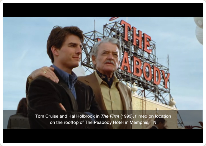 PHOTO CREDIT:  Above is a screenshot from The Firm. This scene was filmed on the rooftop of The Peabody Hotel.