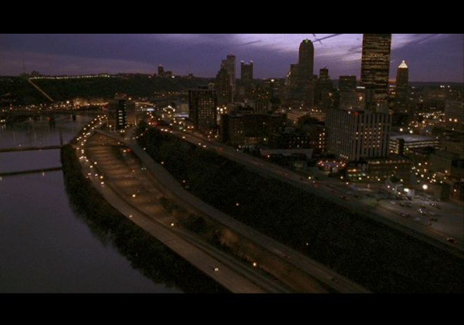 PHOTO CREDIT: Above is a screenshot of an aerial view of Pittsburgh from the movie.