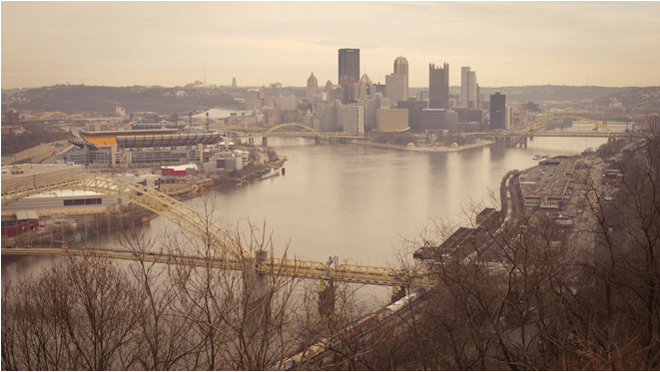 PHOTO CREDIT: Above photo features a view of the rivers and downtown Pittsburgh, as seen from the West End Overlook. Photography by Sarah Le for Reel-Scout, Inc. - all rights reserved.