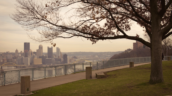 PHOTO CREDIT:  Above is a photo of the West End Overlook and downtown Pittsburgh beyond. Photography by Sarah Le for Reel-Scout, Inc. - all rights reserved.