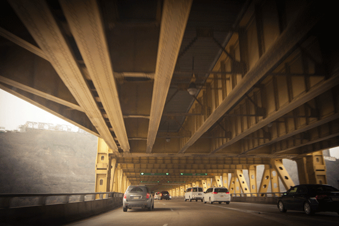 PHOTO CREDIT:  The lower deck of Fort Pitt Bridge. Photography by Sarah Le for Reel-Scout, Inc. - all rights reserved.