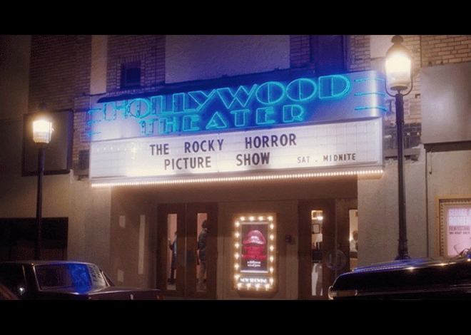 PHOTO CREDIT: Above is a screenshot of the Hollywood Theater featuring The Rocky Horror Picture Show from the movie.