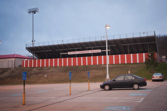 PHOTO CREDIT: Above is a photo of the bleachers by the football field of Peters Township High School. Photography by Sarah Le for Reel-Scout, Inc. All rights reserved.
