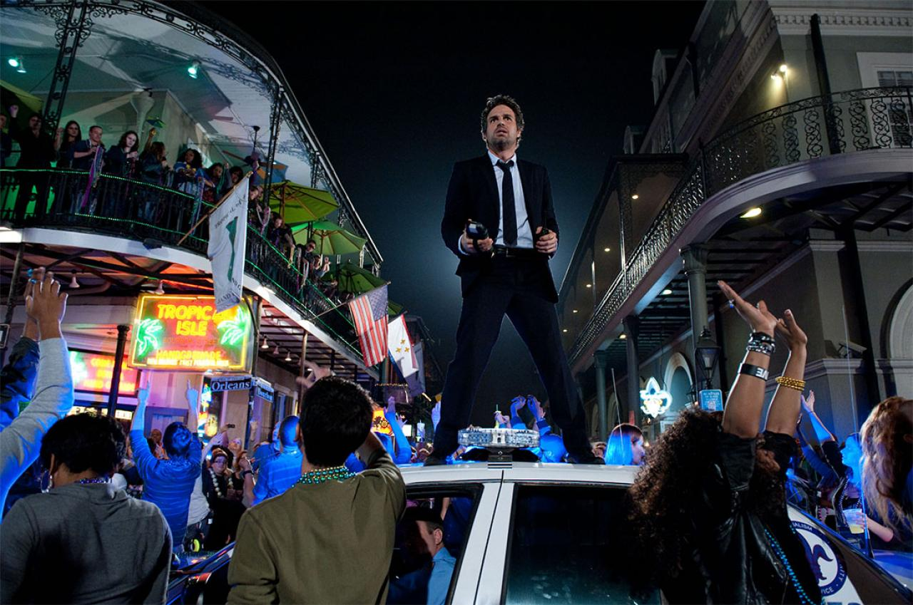 PHOTO CREDIT: A  production still  from  Now You See Me  featuring Mark Ruffalo in a scene filmed on location in New Orleans' French Quarter.