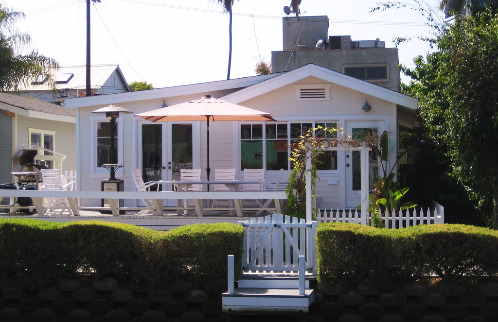 """PHOTO CREDIT: This Venice, California cottage was the film location for Natalie's home in  Charlie's Angels  (2000). The production added a """"weathered"""" covered porch to the house for the filming of the movie. Photo by  Tony Hoffarth ."""