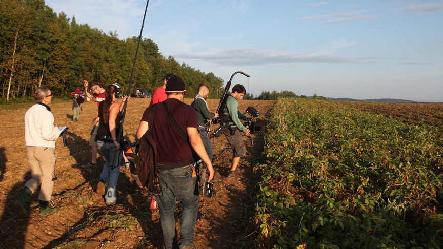 PHOTO CREDIT: Behind-the-scene photo of the crew shooting a potato harvest scene in a LaJoie potato field - photo from the  movie's official website  .