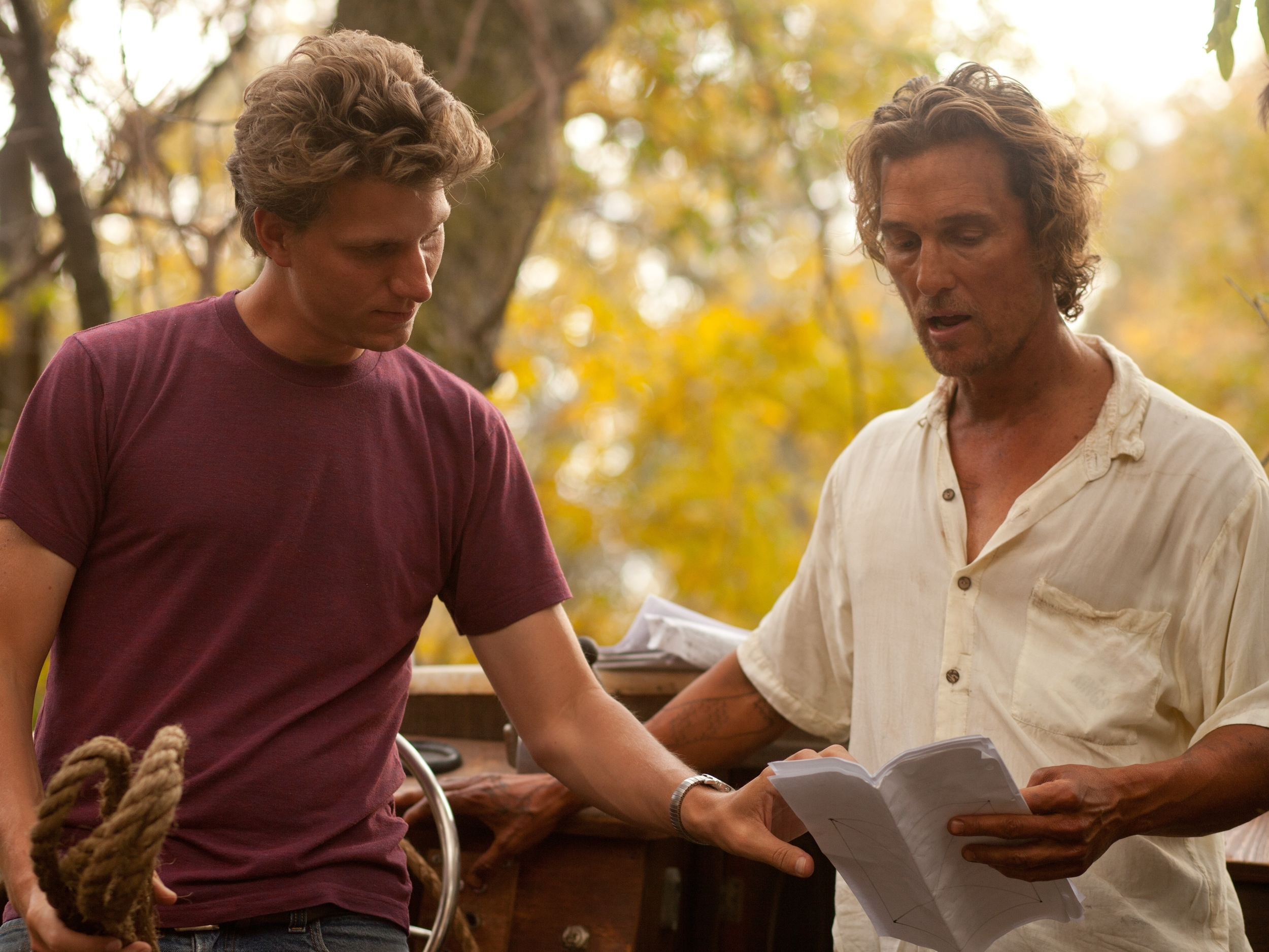 PHOTO CREDIT: Still of Jeff Nichols and Matthew McConaughey on the set of Mud.