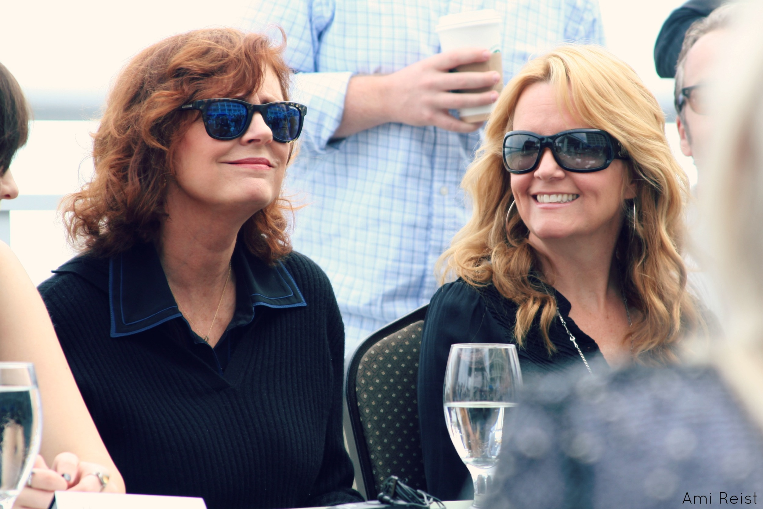 PHOTO CREDIT:  Above photo of Susan Sarandon and Lea Thompson at an Ocean City press conference for Ping Pong Summer is by Ami Reist , Staff Writer at Shore Bread.