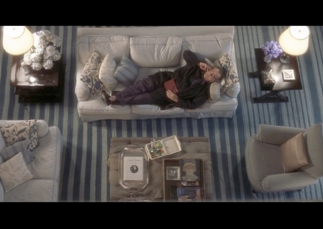 PHOTO CREDIT:  Above is a screenshot of Harry lying on the living sofa talking on the phone. The blue and white striped rug featured in the movie has been inquired about numerous times by homeowners and interior designers.