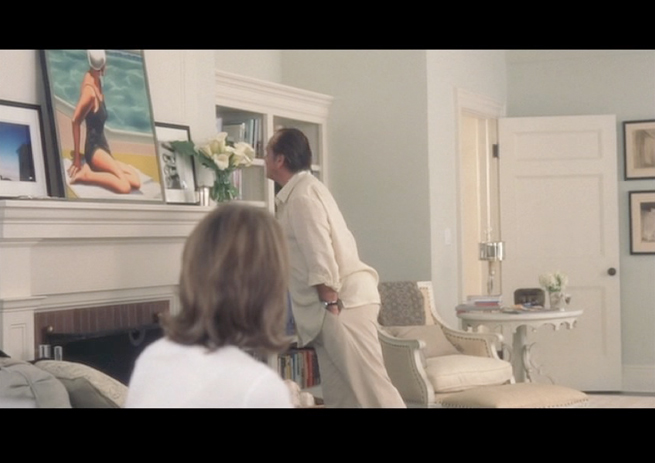 """PHOTO CREDIT:  Above photo is a screenshot of a scene where Harry was admiring a painting on the mantel in Erica's bedroom. The painting is one from the series """" Swim Party """" by California artist Kenton Nelson."""