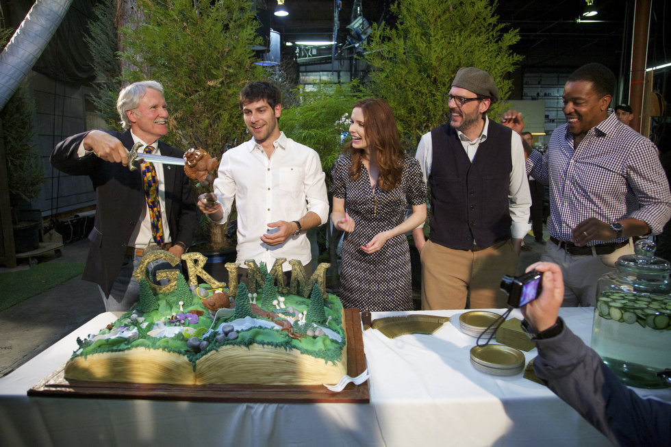 PHOTO CREDIT: Above photo of Oregon Governor John Kitzhaber and the  Grimm  cast (David Giuntoli, Bitsie Tulloch, Silas Weir Mitchell, and Russell Hornsby) at the kick-off party of GRIMM's Season Two on May 29, 2012 is from here .