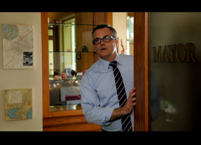 PHOTO CREDIT: Above screenshot from Portlandia features Mayor Sam Adams in a special appearance as the show's fictional mayor's assistant.