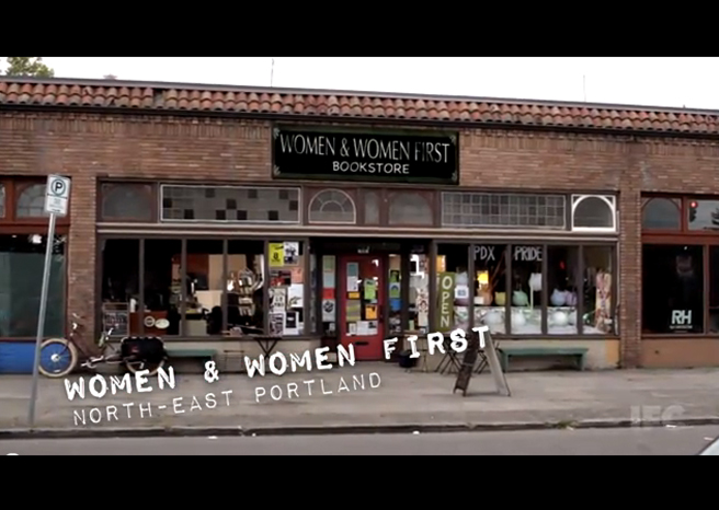 """PHOTO CREDIT:  The above screenshot of Portlandia's """"Feminist Bookstore"""" sketch was filmed on location at In Other Words Community Center and Bookstore."""