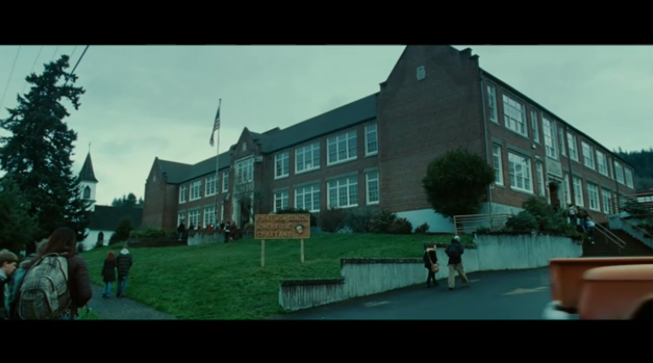 PHOTO CREDIT: The above is a screenshot of a scene filmed at Kalama High School (used for the exterior shots of Forks High School).