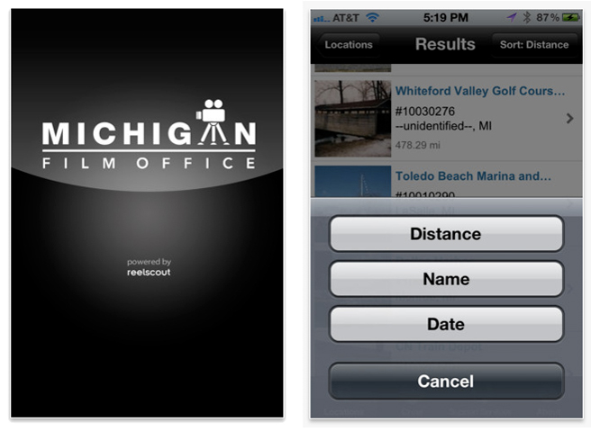 Michigan Film Office's iPhone app.