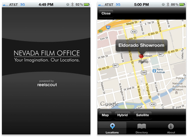 Nevada Film Office's iPhone app.