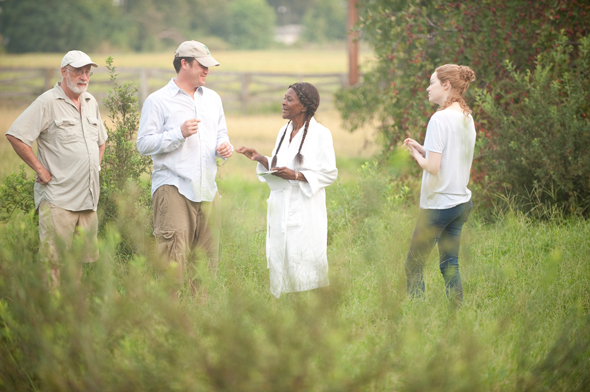 Above image of Stephen Goldblatt, ASC, BSC, Director Tate Taylor, Cicely Tyson, and Emma Stone - on location in Mississippi - is from here .