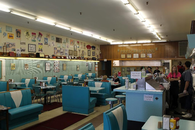 Photo of Brent's Drugs interior is from here .