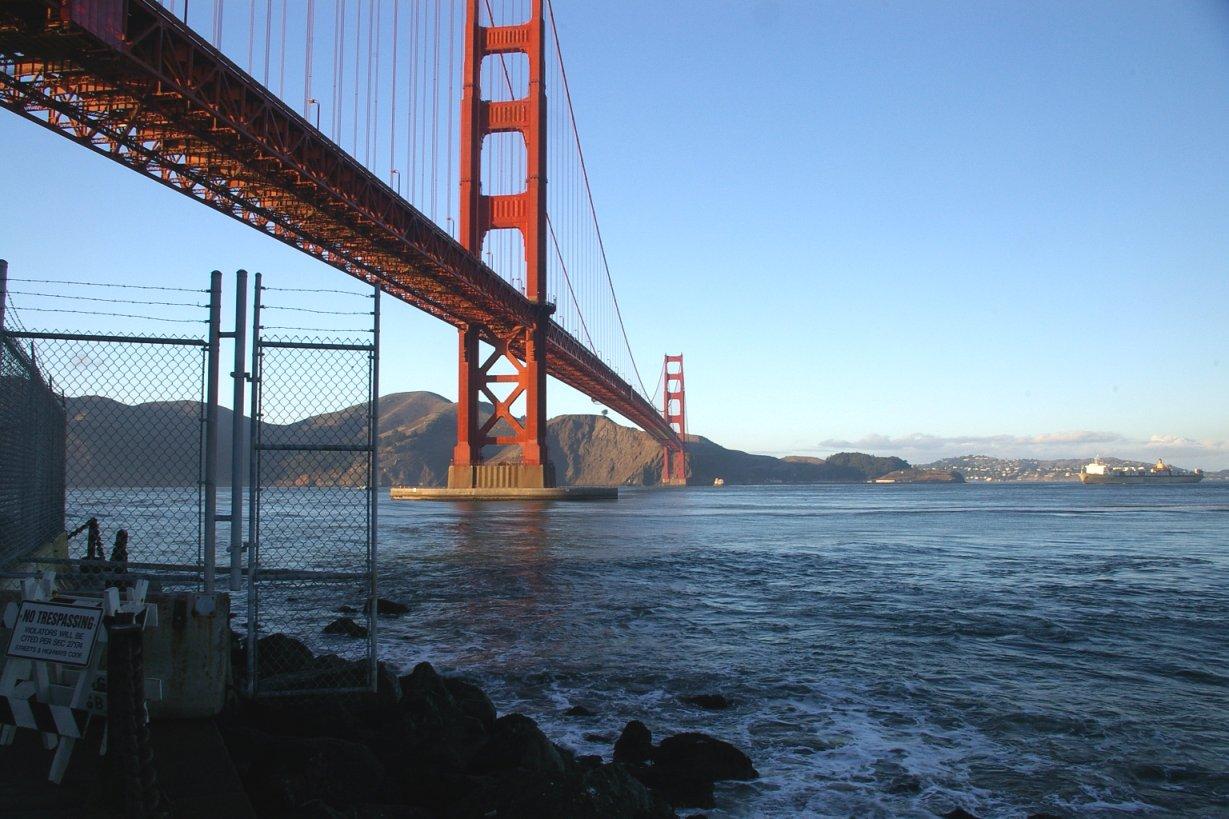 Image of the  Golden Gate Bridge , at the same spot where Vertigo was filmed, via  Google .