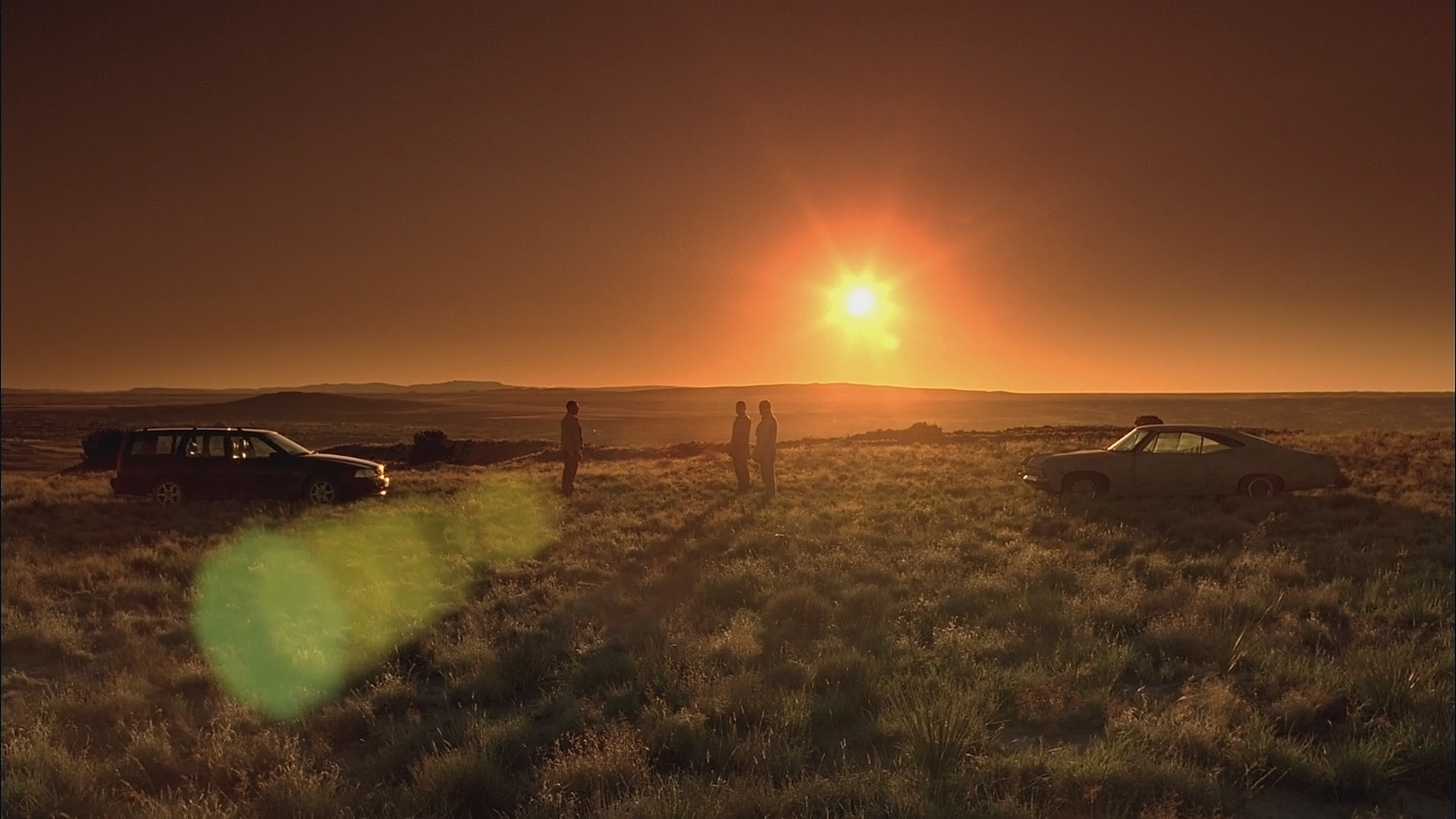 Production still from  Breaking Bad  featuring the stunning New Mexico backdrop at sunset - image via  Google .