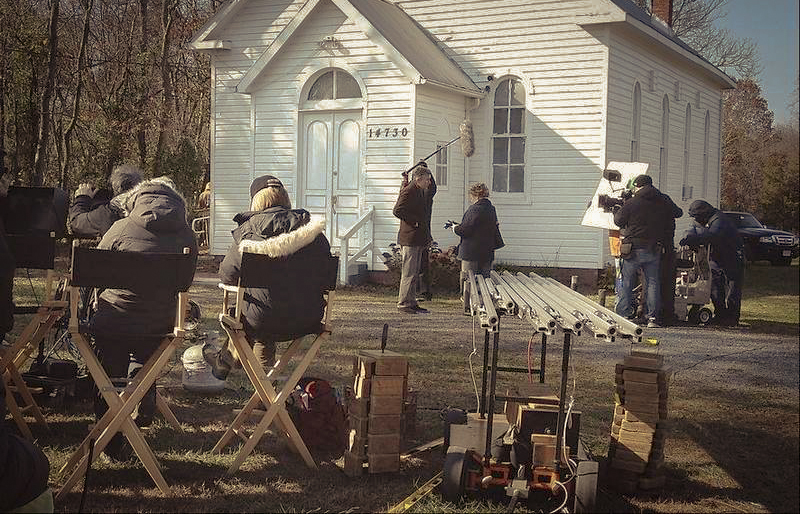 Behind-the-scene photo of  Philomena  filming at St. Paul's Community Church - image via  Google .