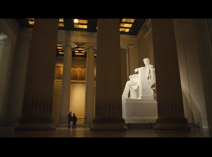 Screenshot: A wide view of Martin and Philomena as they visit The Lincoln Memorial in Washington, D.C.